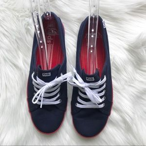 KEDS Blue Red White Lace Up Canvas Tennis Shoe